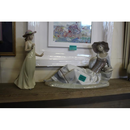 12 - Two Nao Spanish Porcelain Figures of Young Girls - larger one is 35cm Long and 24cm Tall (both missi...
