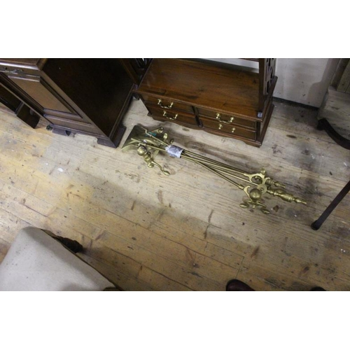 15 - Set of 3 Brass Fire Irons with a Pair of Matching Andirons...