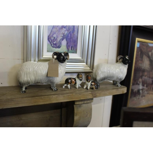 17 - Pair of English Pottery Figures of Sheep together with a pair of English Sheepdog Figures - Sheep 17...