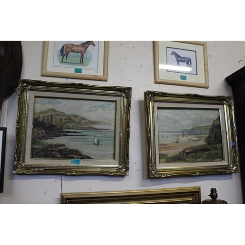 32 - Pair of Late Victorian Oils on Canvas of Coastal Scenes Signed A.J. and Dated 1906 - both in poor mo...