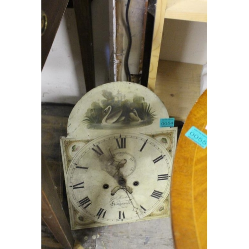 54 - An Early Victorian Longcase Clock Painted Arch Dial Face and Movement...