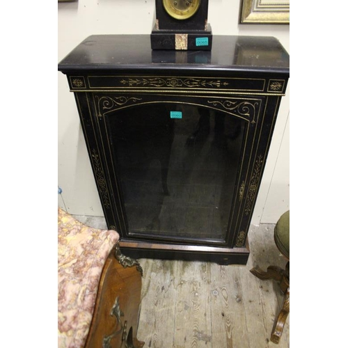 60 - Victorian Ebonised Single Door Pier Cabinet with Gilt Decoration and a Glazed (76cm Wide x 108cm Hig...