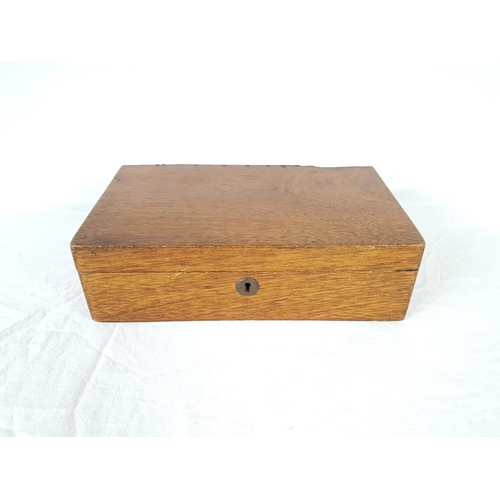 26 - An Edwardian Oak Storage Box With Pull Out Compartment....
