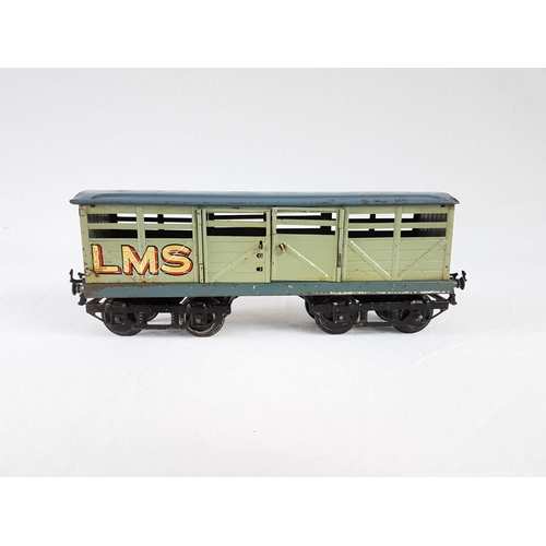 9 - A Hornby Series O Gauge By Meccano Tin Plate 8 Wheel LMS Cattle Wagon In Good Condition....