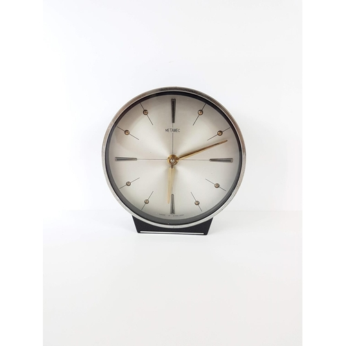 27 - A Vintage 1960's Metamic Freestanding Wind Up Desk Clock Made In England....