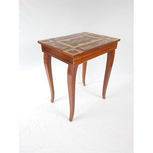 93 - An Early 20th Century French Inlaid Side Table With Opening Top - 44cm High....