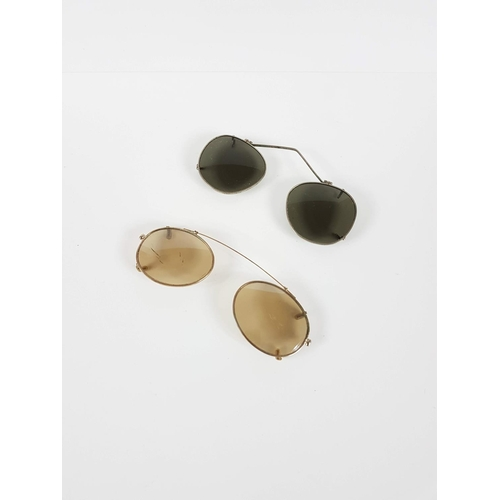96 - Two Pairs Of Vintage Pilot Sunglasses Cover Clip Ons....
