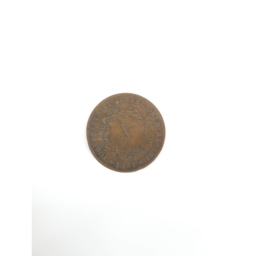 99 - An 1851  Portugal 10 Reis Coin In Excellent Condition....
