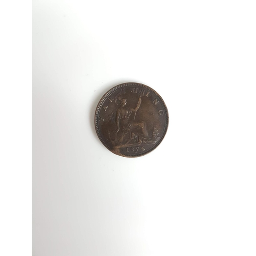 100 - An 1876 Queen Victoria Farthing Coin In Good Condition....