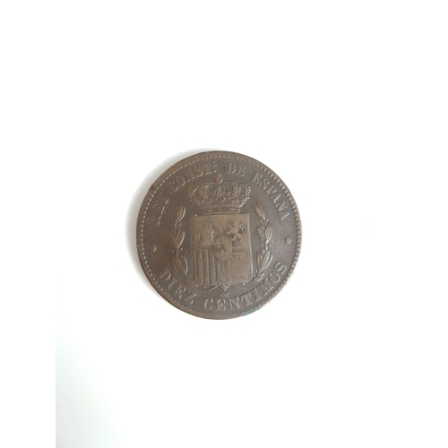 102 - An 1877 Alfonso XII Diez Centimos Coin In Great Condition....