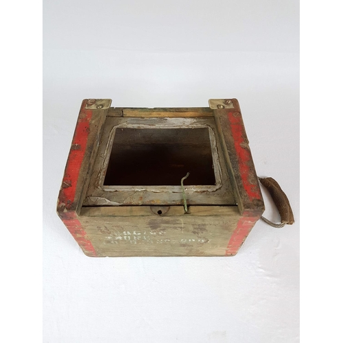 4 - A World War One Ammunition Storage Box Made Of Oak With Brass Fittings, Complete With Steel Inner Bo...