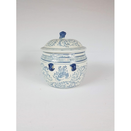 56 - A Mid Century Blue & White Chinese Lidded Tureen - 18 Centimeters In Diameter....