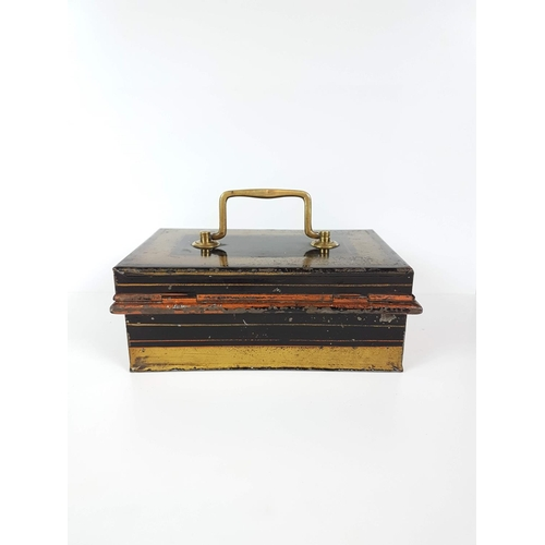 8 - A Victorian Brass Handled Cash Box - 20cm X 13cm X 8cm....