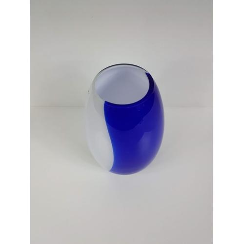 16 - A Circa 1960's Blue & White Glass Vase - 7 Inches Tall....