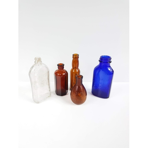 21 - A Quantity Of Five Antique Glass Bottles To Include Blue Milk Of Magnesia....