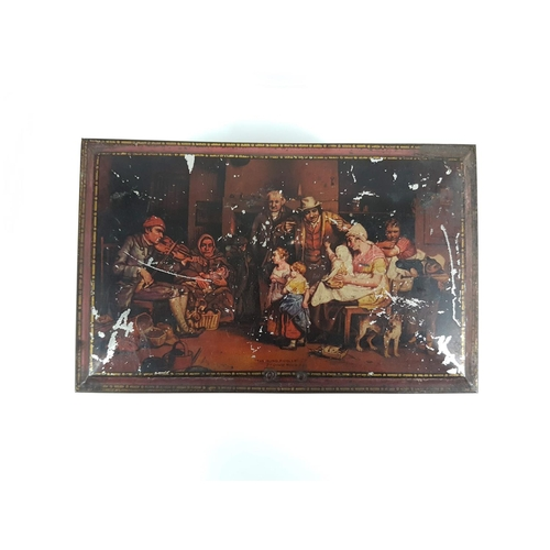 22 - A Vintage Advertising Biscuit Tin With Images Of
