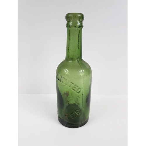 7 - A Victorian Embossed Green Glass Patrons Limited Manchester Beer Bottle - No Chips Or Cracks....