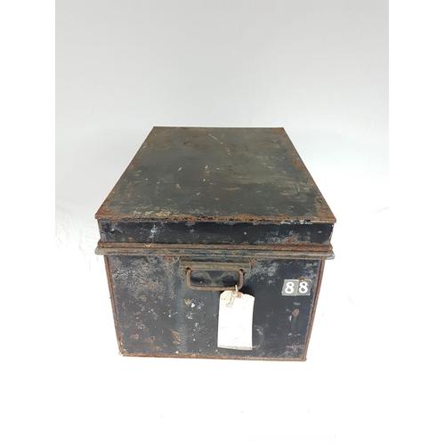60 - A Victorian Metal Deed Box, 18L X 13W X 11H Inches....