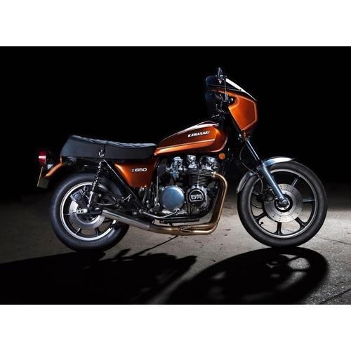 A 1977 Kawasaki Z650R, registration number TNT 306R, cola