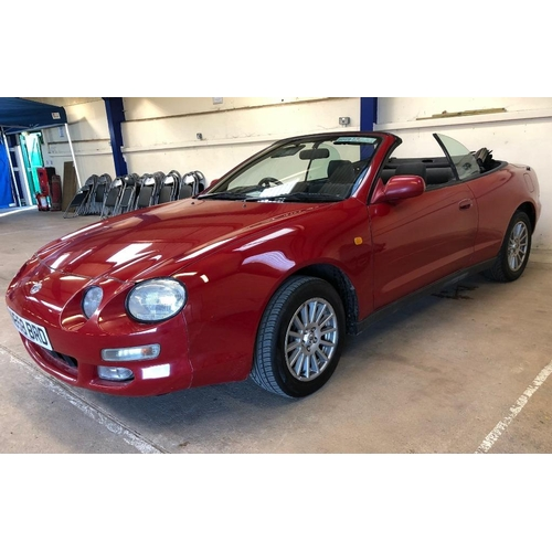 147 - A 1996 Toyota Celica convertible, registration number N658 BRD, red. This rare convertible was impor...