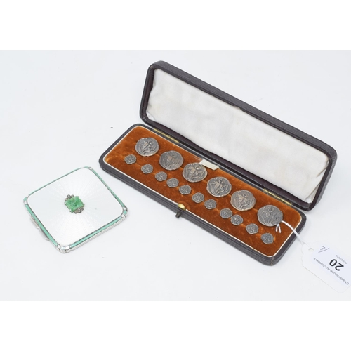 20 - A silver and enamel compact, with cover set a pierced jade plaque, flanked by marcasites, Asprey Lon...