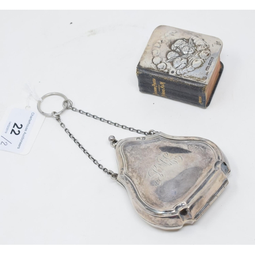 22 - A silver purse, initialled and dated, Birmingham 1916, and a miniature Book of Common Prayer, with s...