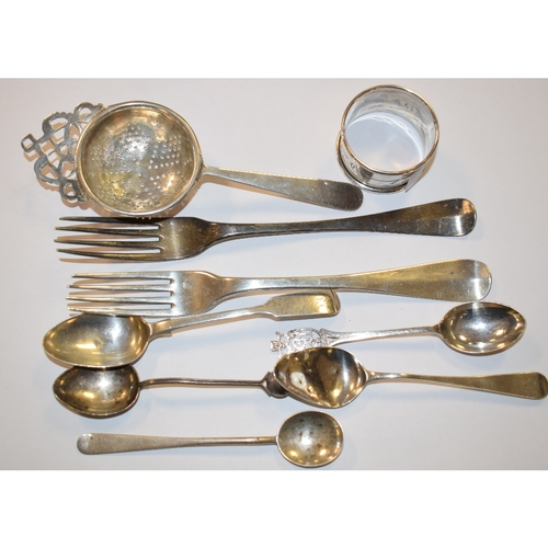 9 - EXTRA LOT: A George III silver picture back tablespoon, Thomas Wallis, London 1769, other silver, si...