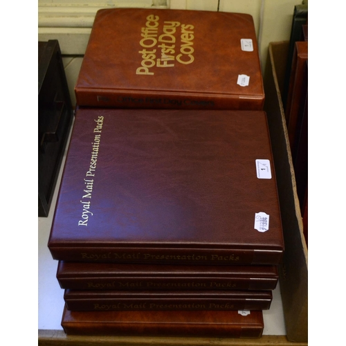 1 - Assorted presentation packs, in four albums, and assorted first day covers, in five albums (9)...