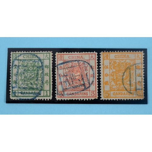 30 - Three China stamps, 1878-83 thin paper, 2.5 mm spacing 1c, 3c and 5c values, each with part blue Pek...