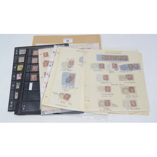 38 - A group of GB stamps, QV line engraved and surface printed issues, on sheets, including cancels...