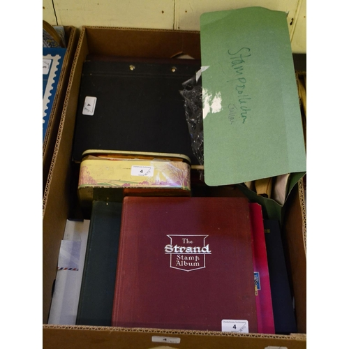 4 - Assorted world stamps, mostly in albums, a 1951 Sudanese first day cover, and other items (box)...
