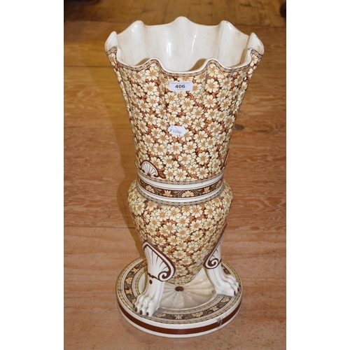 406 - A Mintons Dr Christopher Dresser style floor vase, with all over stylised floral and foliate decorat...