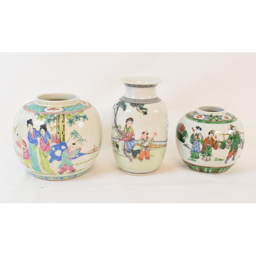 409 - A Chinese porcelain Republican vase, decorated figures, 14 cm high, and two jars (3)...