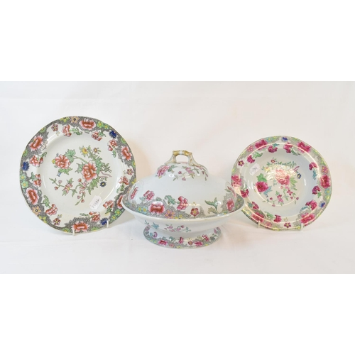 410 - A Copeland Spode New Stone part dinner service, decorated flowers, pattern No 3125, some damage (qty...