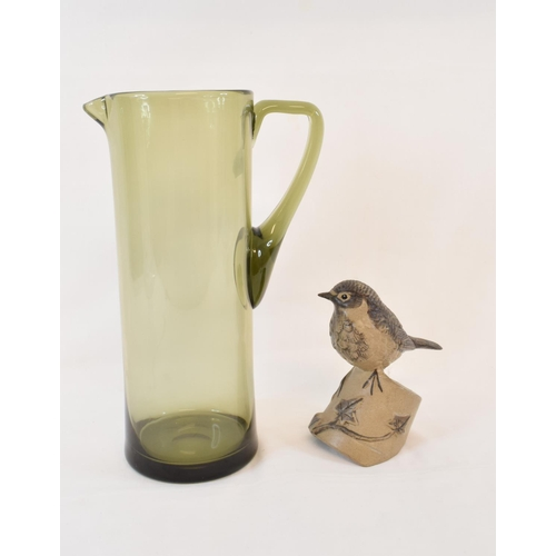 411 - A Whitefriars glass lemonade jug, a Poole pottery bird, other ceramics, a canteen of cutlery, pictur...