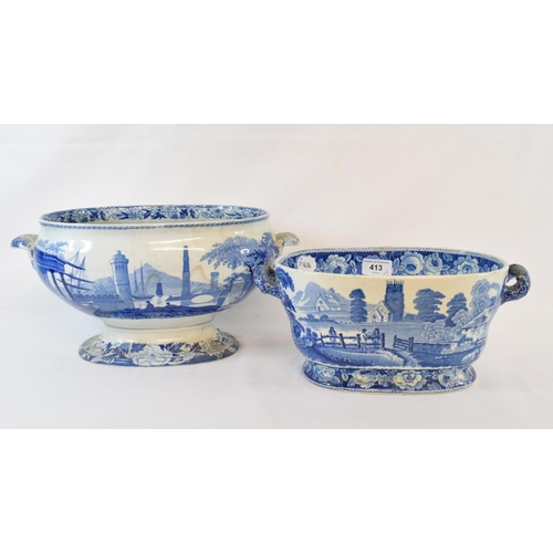 413 - A 19th century blue and white tureen, transfer printed the Village Church pattern, 13.5 cm high, and...