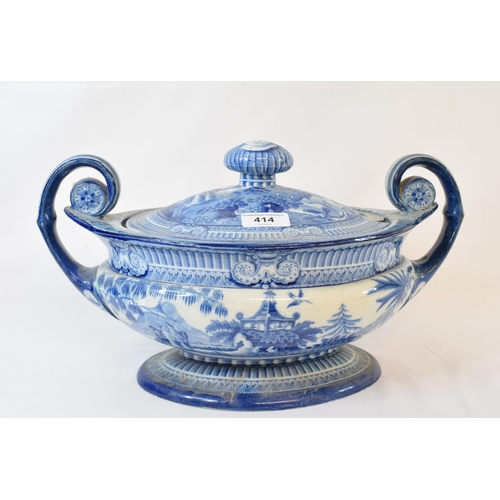 414 - A 19th century blue and white pottery tureen and cover, with chinoiserie transfer printed decoration...