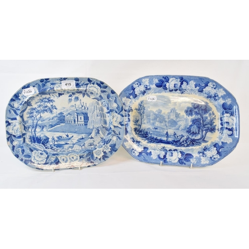 415 - A 19th century blue and white pottery plate, transfer printed Stirling Castle, 34 cm wide, and two o...