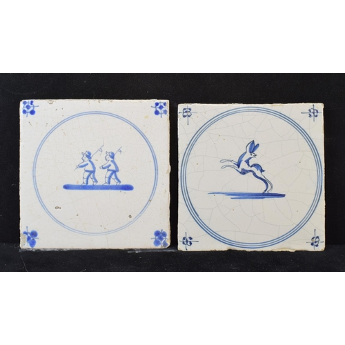 416 - Assorted Delft tiles, decorated animals, flowers and other scenes (21)...