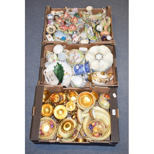 422 - A quantity of Aynsley teawares, decorated fruit, other glass and ceramics (5 boxes)...