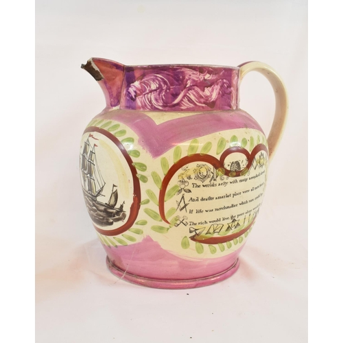 426 - A Sunderland lustre jug decorated a West View of the Iron Bridge of Sunderland, a ship and prose, ch...