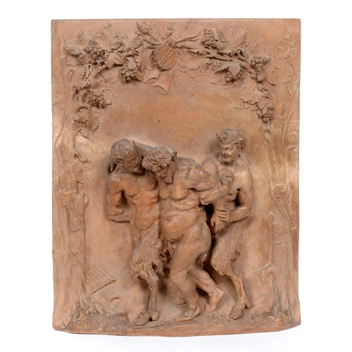 430 - Lacour, a terracotta panel decorated in high relief two fauns escorting a Bacchus, slight damage, 40...