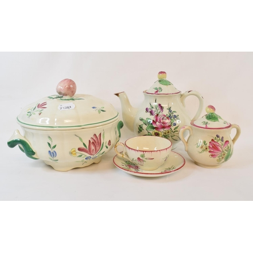 434 - A matched French pottery tea and dinner service, decorated flowers and fruit, assorted Sowerby white...