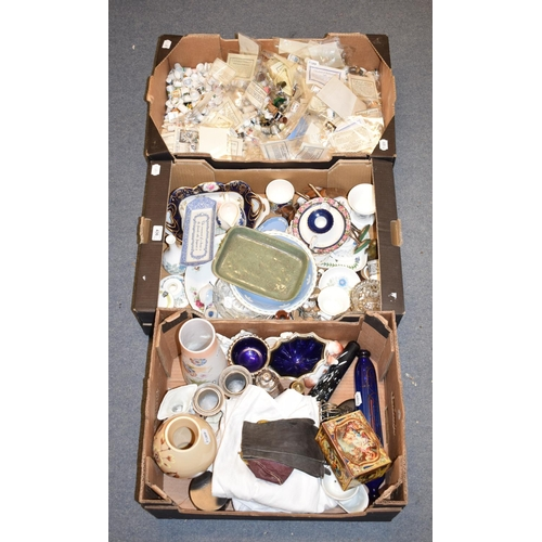 436 - A large collection of assorted thimbles, silver plate, glass and other items (3 boxes)...