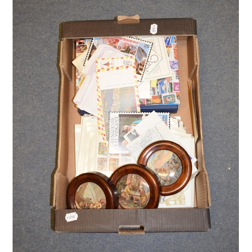 446 - A Victorian pottery pot lid, The Enthusiast, framed, two others similar, assorted first day covers, ...