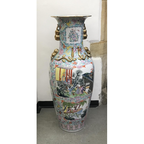 459 - A modern Chinese floor vase, decorated scenes with figures, flowers and foliage, 135 cm high, other ...
