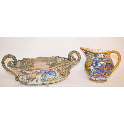 441 - An Italian Gualdo Tadino maiolica lustre jug, decorated a portrait and arabesque decoration, signed,...