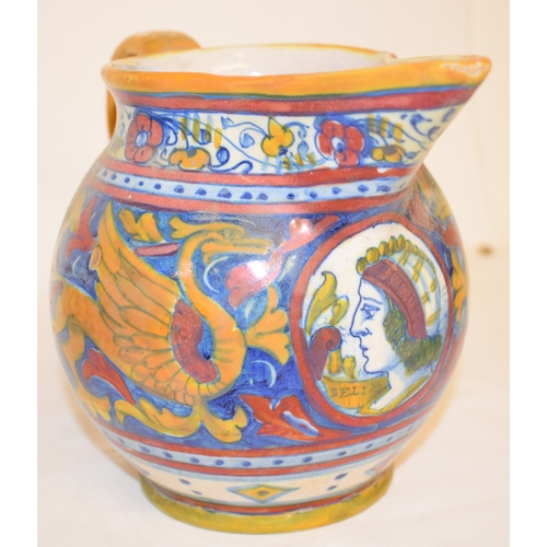 441 - An Italian Gualdo Tadino maiolica lustre jug, decorated a portrait and arabesque decoration, signed,...