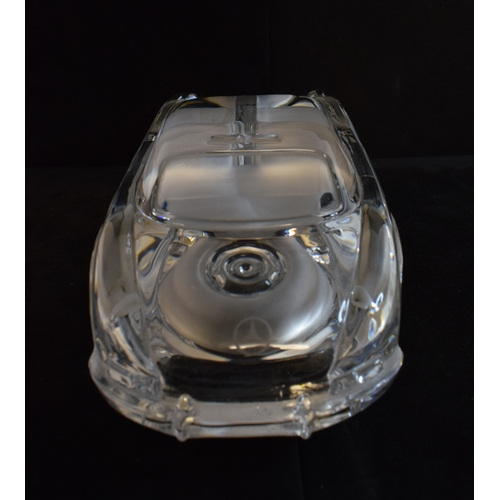 403 - A Daum clear and frosted glass Mercedes Gullwing, signed Daum France, 9 cm high...