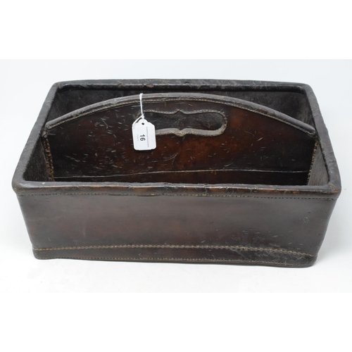 16 - A solid leather two compartment cutlery tray, 43 cm wide...